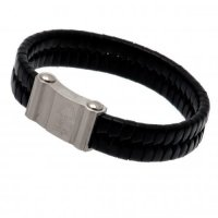 Nottingham Forest F.C. Single Plait Leather Bracelet