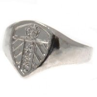 Leeds United F.C. Silver Plated Crest Ring Large